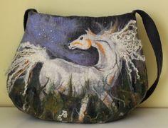 Grey bag shoulder bag felt felted  white horse grey green gray bag, horse motif, white horse. $199.00, via Etsy.