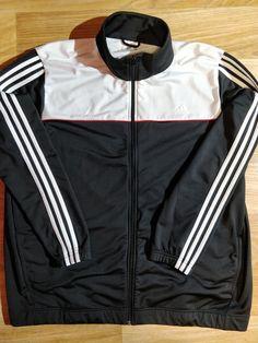 891d9dd0f962 Adidas 90 s Vintage Mens Tracksuit Top Jacket Black White