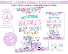 Party Boutique The Cutest Party Printables by PrinterFairy Elephant Baby, Party Printables, Etsy Seller, Baby Shower, Boutique, Handmade Gifts, Cute, Babyshower, Kid Craft Gifts