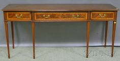 DISCOVERY - SALE 2597M - LOT 822 - PAIR OF WELLINGTON HALL GEORGIAN-STYLE INLAID MAHOGANY CONSOLE TABLES, HT. 33 1/4, WD. 72, DP. 21 3/4 IN. - Skinner Inc  Est $ 300-400