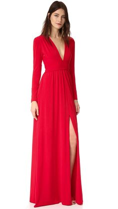 Calvin klein red and black colorblock pleated maxi dress