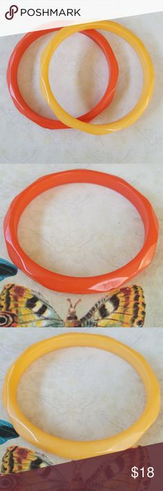 Set of 2 Vintage Lucite Bangles Set of two Lucite Vintage Bangles in orange and butterscotch.  Great for layering Tiny nip out of the orange bangle (see pic) Great vintage condition  1960's Vintage Jewelry Bracelets