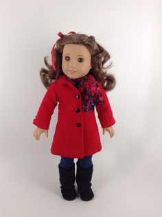 American Girl 18-inch Doll Clothes  Red LeMarais by HFDollBoutique