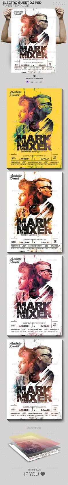Guest DJ's PSD Poster/Flyer Template #design Download: http://graphicriver.net/item/guest-djs-psd-posterflyer-template/12072580?ref=ksioks