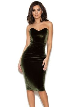 'Antonella' OLIVE GREEN VELVET STRAPLESS DRESS | House of CB London