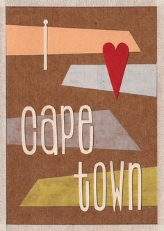 'i heart cape town' handmade postcard designs Postcard Design, Cape Town, Postcards, Scrapbooking, Paper Crafts, Graphic Design, My Love, Heart, Handmade