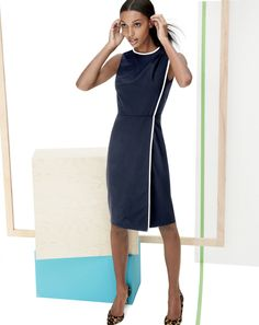 J.Crew piped wool dress in Super 120s and the Collection Valentina calf hair D'Orsay pumps.
