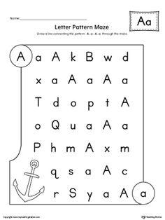 Letter Pattern Maze Worksheet: Letter A Worksheet.In the Letter Pattern Maze Worksheet: Letter A, students follow the pattern B-b-B-b through the maze to reach the final destination.