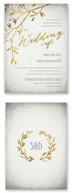 Leaves of gold wedding invitation from Invitations by Dawn…