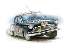 Рисунки автомобилей: Петр Перешивайлов ГАЗ-21 ралли
