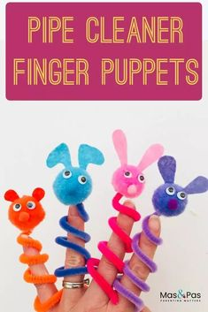 Wiggly jiggly pipe cleaner finger puppets