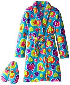 Sleep & Co Girl's Plush Heart Bathrobe and Slipper Gift Set: Long-sleeve shawl-collar robe featuring allover heart patterning with self-belt at waist Includes print-matched slippers Kids Slippers, Thing 1, Heart Patterns, Latest Fashion Trends, Best Sellers, Gifts For Kids, Girl Fashion, Plush, High Neck Dress