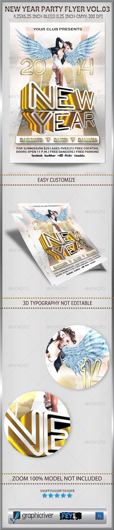 New Year Party Flyer Vol.03  #GraphicRiver         New Year Party Flyer Vol.03   Size 4.25×6.25 inch with bleed 0.25 inch   Print ready with CMYK Color and 300 dpi for resolution   Easy editable and customize   Well organized all layered   Model not included   Wings element included   Link download fonts:   .dafont /social-logos.font  .dafont /streetvertising-public.font  .dafont /neon-glow.font    If you like don't forget to rate   Thank you       …
