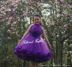 Purple High Neck Halter Flower Girl Dress with Ribbon Hem & Purple Satin Flower Sash..Other Available Colors Sizes 1t, up to Size 10