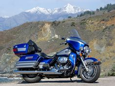 2009 Harley-Davidson Ultra Classic Electra Glide on Highway One. Rare to see snow capped mountains on the coast. Photo by Kevin Wing. Harley Davidson Trike, Harley Bobber, Harley Bikes, Harley Motorcycles, Harley Ultra Classic, Harley Davidson Ultra Classic, House Of Harley, Hd Sportster, Touring Bike