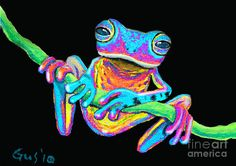 Tropical Rainbow frog on a vine Painting  - Tropical Rainbow frog on a vine Fine Art Print