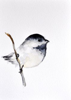 Watercolor art Bird on a branch