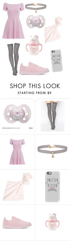 """ddlg: lg day out pink"" by gemmaclayburnx ❤ liked on Polyvore featuring ASOS, AX Paris, Miss Selfridge, Tartine et Chocolat, Casetify, adidas Originals and Hello Kitty"