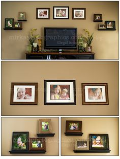 Picture wall collage ideas layouts on pinterest tvs for What to hang on wall above tv
