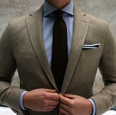 Blue Gingham Shirt and brown green suit.