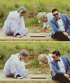 """Did You Know that Big Bang Made a Surprise Appearance in Psys Gangnam Style MV? The two """"grandfathers"""" were actually two men disguised as old men. After close observation, netizens realized they were none other than Big Bang's Daesung and Seungri. Daesung, Vip Bigbang, Btob, Vixx, G Dragon, One Yg, Yg Groups, Big Bang Memes, Psy Gangnam Style"""