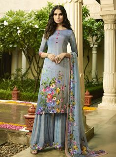Real splendor will come out out of your dressing style with this Multi Color Faux Italian crepe Casual Wear Palazzo Suit. the lovely digital printed work s Pakistani Designer Suits, Designer Kurtis, Pakistani Suits, Indian Designer Wear, Designer Dresses, Punjabi Suits, Indian Dresses, Indian Outfits, Trajes Pakistani