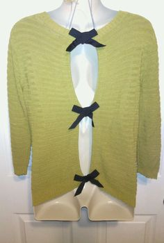 Rachel Rachel Rop top M knit green long sleeve black bows VGUC soft sweater #RachelRoy #ScoopNeck