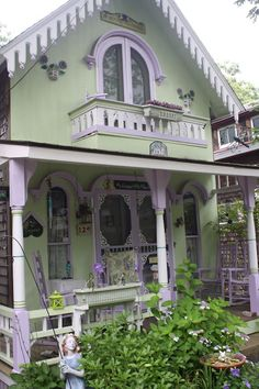 green and purple victorian cottage