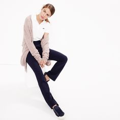 J.Crew Looks We Love: women's long V-neck cardigan, Lacoste® for J.Crew polo shirt, Preston pant and Tretorn® canvas T56 sneakers.