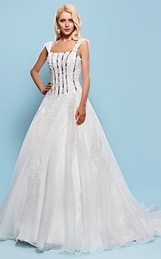 Ball Gown Square Court Train Organza Wedding Dress – USD $ 299.99