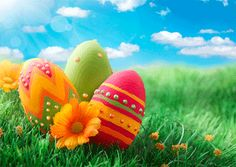 Happy Easter - Eggs and Flowers in Field - 3D Post Card ...