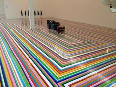 Jim Lambie stripy floor for the Fruit Market. Can you imagine painting this! Jim Lambie, Floor Rugs, Interior Inspiration, Indoor Outdoor, 3 D, Tiles, Interiors, Flooring, Fruit