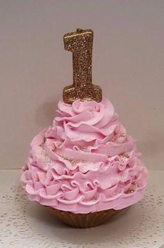 Smash Cake Photo Props, First Birthday Fake Cupcake, Pink and Gold Cupcake  #FakeCupcakeCreations