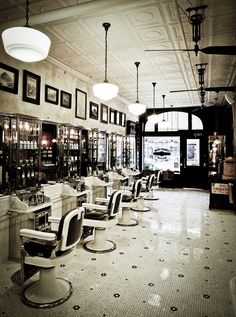 Ludlow Blunt (formerly Tommy Guns NYC) uses tin ceiling tiles in his vintage barber shop. http://americantinceilings.com/media/PDF/case-studies/ATC_CaseStudy_Tommy-Guns.pdf