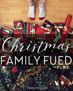 Christmas Family Fued - a fun game for a large group for Christmas parties Christmas Party Ideas to make your own Christmas party unique and fun -Christmas Games to play for gift exchanges or large gatherings at Christmas Christmas Family Fued, Fun Christmas Party Games, Xmas Games, Holiday Games, Winter Christmas, Holiday Fun, Christmas Parties, Fun Games, Staff Christmas Party Ideas