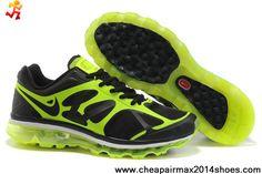 Sale Discount 487982-001 Nike Air Max 2012 Black Green Mens Fashion Shoes Store