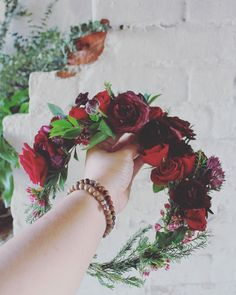 Gothic Crown // Burgundy, pinot noir and primary reds for this flower crown  Florals // THE CROWN COLLECTIVE