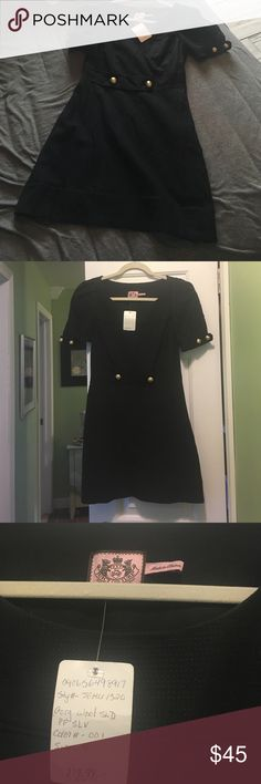 Juicy couture wool dress with gold details Juicy couture dress size 4 never worn. Side zipper. Excellent condition. Juicy Couture Dresses