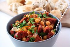 "JosieLee: ""7 Nights of Tapas"" Recipe: Garbanzo Beans (Chickpeas) with Chorizo"