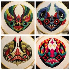 Psychedelic bat dudes from seaofdoom Diy Embroidery, Cross Stitch Embroidery, Embroidery Patterns, Art Du Fil, Bubble Art, Cross Stitching, Textile Art, Fiber Art, Sewing Crafts