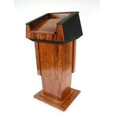 Executive Wood Presidential Lift Full Podium Wood Species: Cherry, Finish: Dark Cherry, Fabric Color: Black