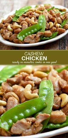 Cashew Chicken with moist chicken, crunchy cashews, and tender-crisp snow peas in a savory sauce. Easy to make and super tasty, this stir-fry dish is sure to be a family favorite! #chicken #easyrecipes #30minutemeals #asianfood #weeknightdinner