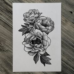 peony tattoo black white - Recherche Google minus the top peony and most of the leaves                                                                                                                                                      More