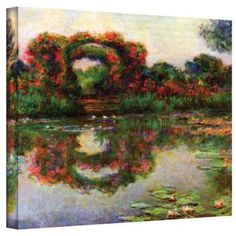 Claude Monet Foliage Trestle 36X48 Gallery-Wrapped Canvas, Size: 36 x 48, Red