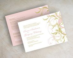 Pink and Gold Vine Wedding Invitations