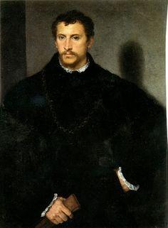 Grey-eyed Nobleman (ca.1545) by Titian - Tiziano Vecelli or Tiziano Vecellio (Italian c. 1488/1490–1576) Galleria Palatina in Palazzo Pitti