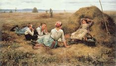 The Harvesters Resting-Daniel Ridgway Knight (1839 – 1924, American)