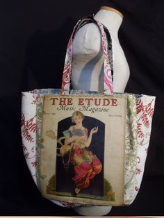 "This is the ORIGINAL cover of a 1933 edition of ""The Etude Music Magazine"".  Quite a find - and such an incredibly beautiful piece of history reDesigned into a reTroToTe!  99% reCycled-reUsed-rePurposed... 100% reDesigned & reTro!  All hand designed and hand sewn.  $50.00 each."