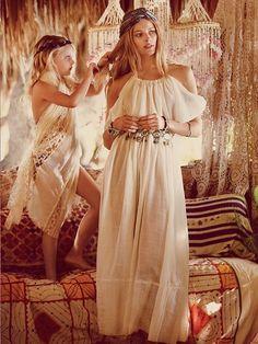 goddess long white dress boho