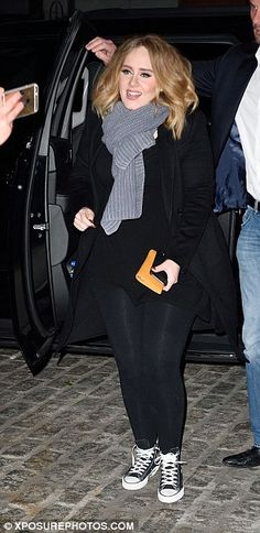 Dine and laugh: Emma, Jennifer and Adele all giggled as they made their way to the restaur...